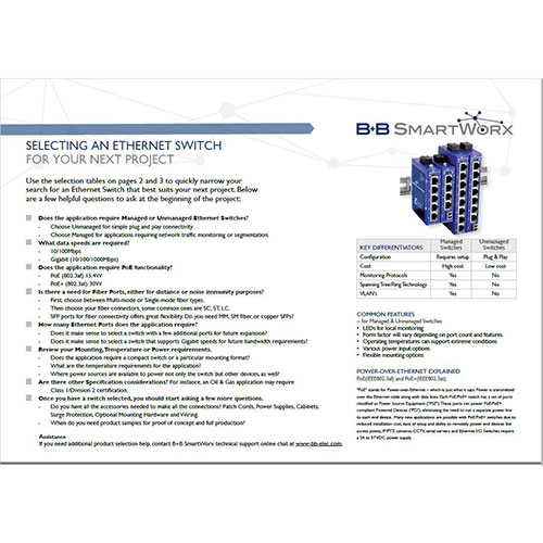 Ethernet Switch Selection Guide