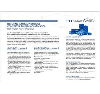 Serial Converter, Repeater, Isolator Product Selection Guide - B+B SmartWorx